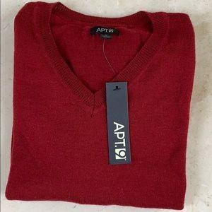 Apt. 9 Men's Dogwood Red V Neck LongSleeve Sweater